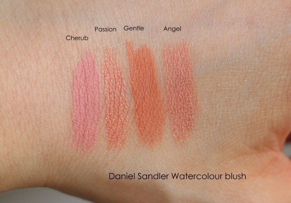 Daniel Sandler watercolour blushes swatches Cherub Passion Gentle Angel