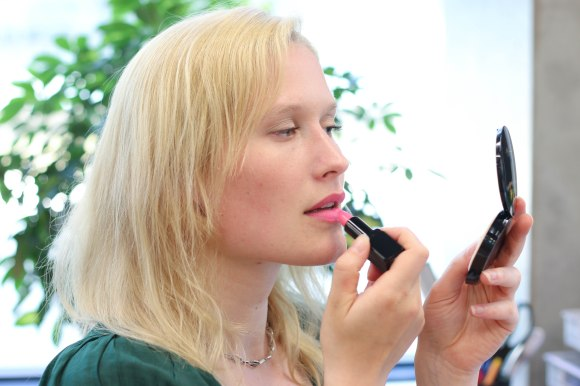 Aiste applying one of her favourites: Illamasqua Immodest