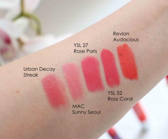 Urban Decay Streak MAC Sunny Seoul YSL Rose Paris Rosy Coral Revlon Audacious-2